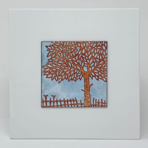in klöver | ni design - Janine Partington - Enamel on Copper 'Leafy Tree' Wall Panel